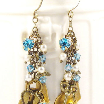Crystal Heart Earrings Vintage Swarovski Auquamarine Rhinestones Antique Brass Charms Fashion Jewelry