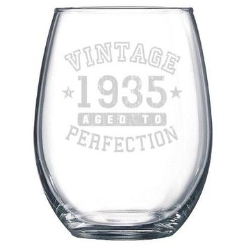 Vintage Aged to Perfection Birthday Gift Stemless Wine Glass