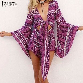 Zanzea Women Vintage Romper Jumpsuit 2017 Lady Sexy Deep V Neck Long Ruffled Flounce Sleeve Floral Overalls Casual Boho Playsuit