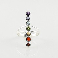 Multi Gemstone Sterling Silver Line Chakra Ring