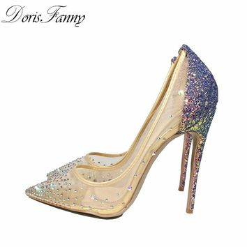 DorisFanny blingbling women shoes high heels stilettos purple glitter shoes 12cm/10cm/8cm sexy high heel pumps size 34 43 45