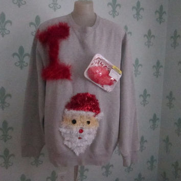 Christmas Sweatshirt Tacky Ugly Gross I heart ( plastic heart ) Santa Hilarious Size large to Xlarge 50 Inches Chest Ships Priority Mail