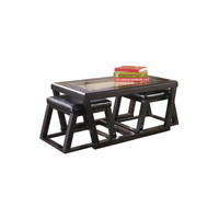 Signature Design by Ashley Kenan Coffee Table with Nested Stools & Reviews | Wayfair