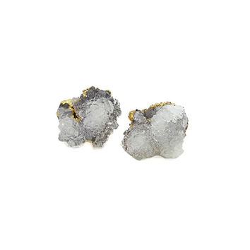 Raw Crystal Cluster Earring, Raw Crystal Studs