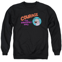 COURAGE THE COWARDLY DOG/COURAGE LOGO - ADULT CREWNECK SWEATSHIRT - BLACK -