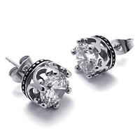 Titanium Steel Transparent CZ Crown Shape Stud by Hallomall
