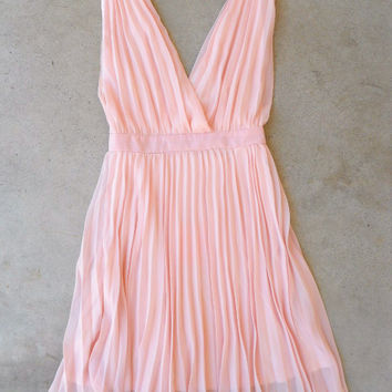 Pleated Pink Party Dress [6375] - $36.00 : Vintage Inspired Clothing & Affordable Dresses, deloom   Modern. Vintage. Crafted.