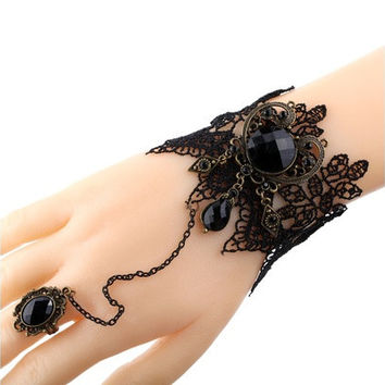 Black Lace Slave Bracelets with Ring Lolita Acrylic Beads Metal for Women