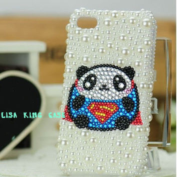 Pearl and  rhinestone supperman panda iphone 4 case cover iphone 4s case iphone 5 case