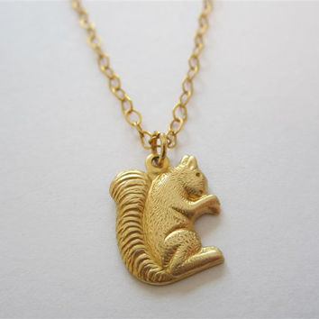 Squirrel necklace, brass squirrel pendant on gold chain, animal jewelry