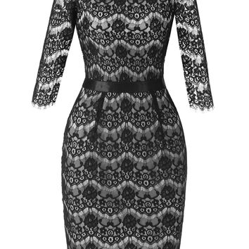A| Chicloth Black Half Sleeve Hollow Women 's Lace dress