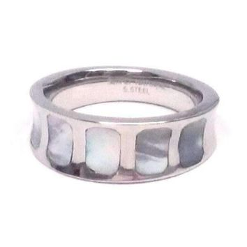 CLEARANCE - Mother of Pearl Shell Inlaid Stainless Steel Band Ring