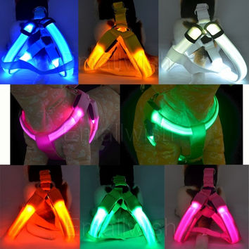 Pet Dog Cat LED Harness Training Safety Light Glow Harnesses Leash for Dogs LED dog collar Tether = 1929825412