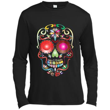 Colorful Sugar Skull  for Mexican Day Of The Dead Long Sleeve Moisture Absorbing Shirt