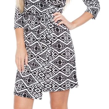 Mariah Trellis Print Wrap Dress Short Cover Up 3/4 Sleeves