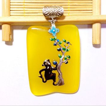 Monkey Steals Peach Tree Cloisonne Yellow Natural Chalcedony 925 Pendant