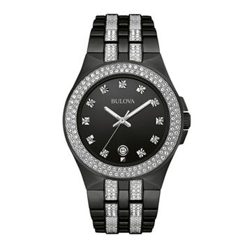 Men's Bulova Crystal Accent Watch with Black Dial (Model: 98B251)