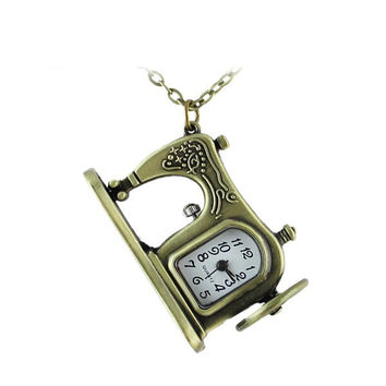 Vintage Bronze Alloy Sewing Machine Pendant Pocket Watch