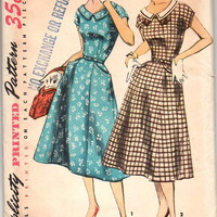 Simplicity 50s Sewing Pattern 1577 Vintage Garden Tea Party Dress Rockabilly Retro Fit Flare Skirt Uncut Bust 37