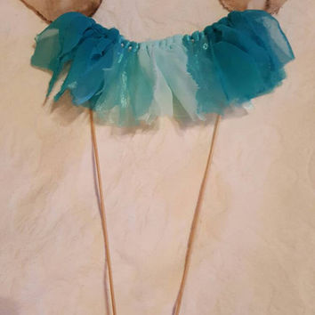 Rustic Shabby Chic Cake Topper Love Birds Garland Wedding Baby Shower Teal Turquoise Ombre