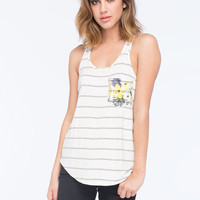 Full Tilt Stripe Womens Pocket Tank White/Grey  In Sizes