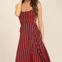 At Ease Red Striped Lace-Up Midi Dress