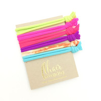 Softest Hair Ties in Neon Color Fitness Colors and Neutrals No Crease Gentle Knotted Hair Ties