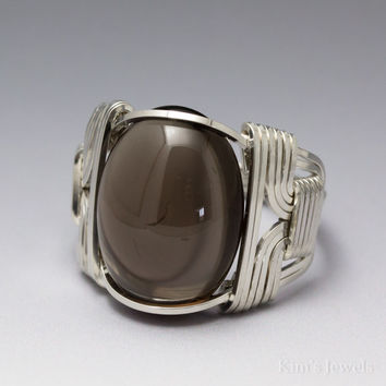 Smoky Quartz Sterling Silver Wire Wrapped Cabochon Ring