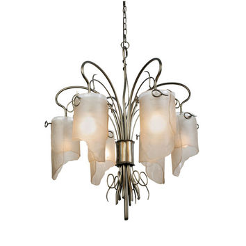 Varaluz 126C06SG Soho Statue Garden Six Light Chandelier w/ Brown Tint Ice Recycled Glass