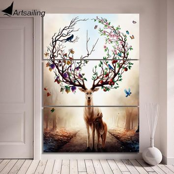 3 Piece Canvas Art Dream forest elk Poster HD Printed Wall Art Home Decor Canvas Painting Picture Prints Free Shipping/NY-6829C