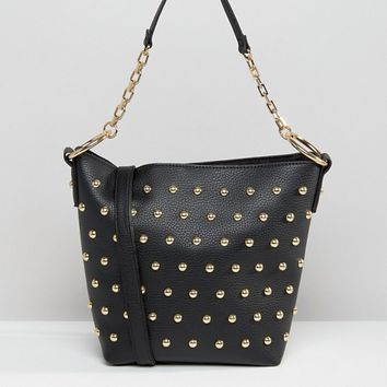 River Island Mini Stud Bucket Bag at asos.com