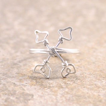 Crossed Arrows Ring Double Arrow Symbol of Friendship Ring