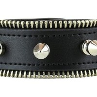 "Silver Spikes & Zipper Trim Leather Wristband Bondage Bracelet 2"" Wide"