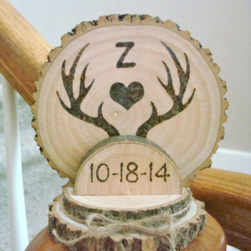 Custom Rustic Wedding Cake Topper Wood Burned Deer Antlers Romantic