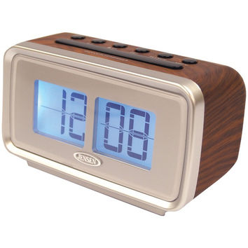 JENSEN AM/FM Dual Alarm Clock with Digital Retro Flip Display JCR232 JCR-232 772