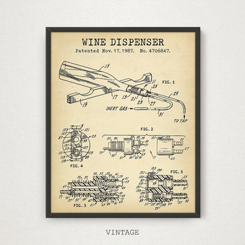 Wine Art, Wine Dispenser Patent, Digital Download, Bar Decor Wine Poster Print Liquor Spirits Drinks Wall Art Kitchen Art Vintage Wine Gifts