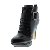Diesel Womens Melrose Adelaidey Leather Platform Ankle Boots