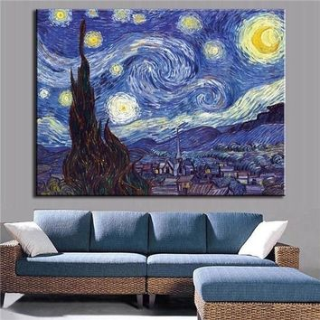 1 / set of pictures of the sunrise at the sea classic magnolia oil painting from Van Gogh star night living room wall art painti