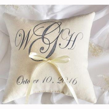 Personalized Ring bearer pillow, Wedding ring pillow , wedding pillow ,personalized ring pillow, ring bearer pillow (R3)