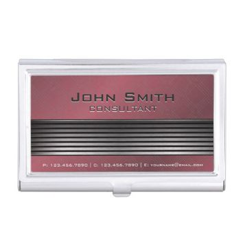Elegant Modern Black & Silver Metal Red Diamond Business Card Holder
