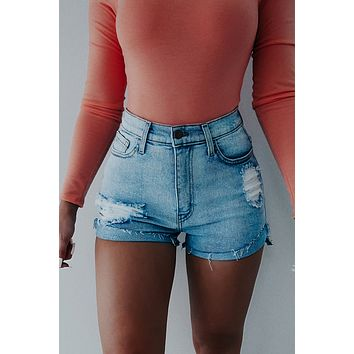 REORDER: On Your Time Shorts: Denim