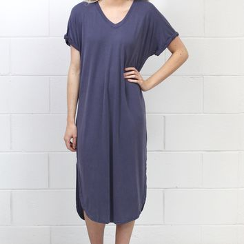 Short Sleeve Modal Side Slits Midi Dress {Dusty Purple}