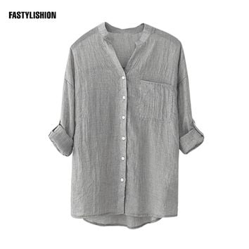 Daily, Work Women Blouse Grey Cotton, Linen Shirts Autumn Office OL Long Sleeve Shirt Women Blusas Trim Cotton