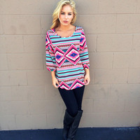 Pink Tribal Print Hi Low Tunic