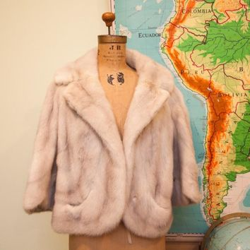 Vintage 50s Cropped Mink Fur Coat // Philip Reiner Furs New York // Size M // Ivory Striped