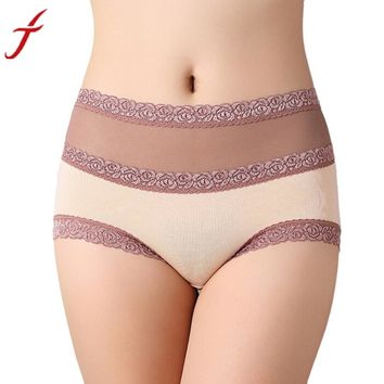 Cotton Lace Hollow Out High Waist Panties underwear Girl High Quality