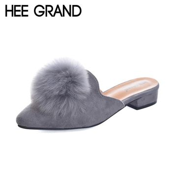 HEE GRAND Woman Mules Spring and Autumn Pumps Flock Vamp Shoes with Wool Balls  Women's Shoes XWD6097