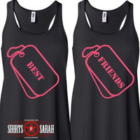 Women's Best Friends Tank Tops - Matching Dog Tag Shirts - Besties Top Ladies Military Style Shirt