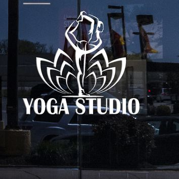 Window Sign for Business Vinyl Wall Decal Yoga Studio Logo Pose Lotus Flower Stickers (2323igw)