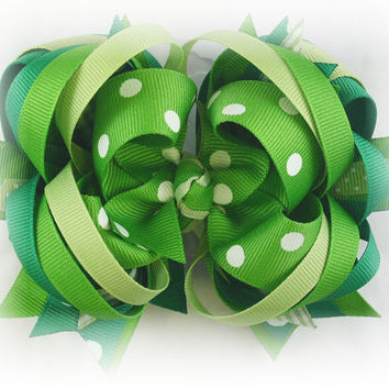 Boutique stacked bow, Green hair bow, Green bow, Over the top bow, Toddler hairbow, Boutique hair bow, Hair bows for girls, Pageant bow